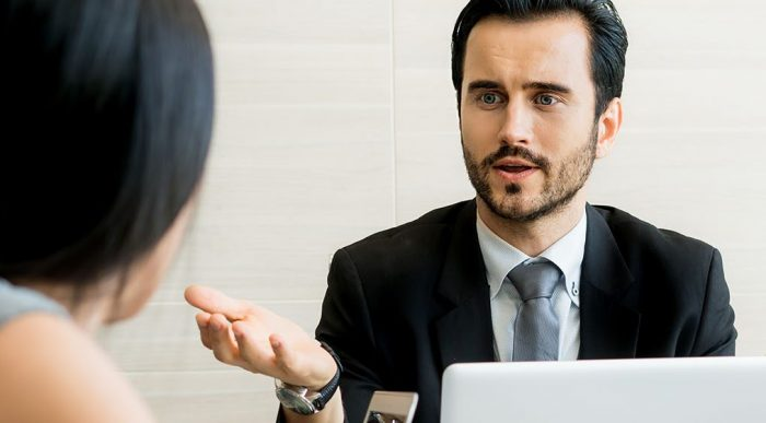 man discussing conflict resolution strategies
