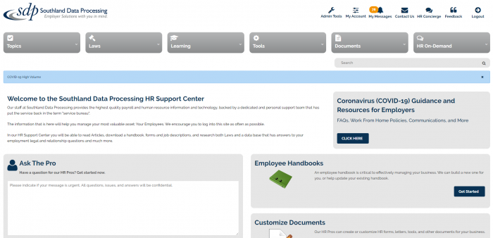 HR Support Center Mock Up
