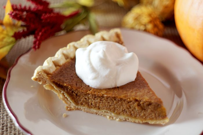 thanksgiving dinner with pumpkin pie for office celebration