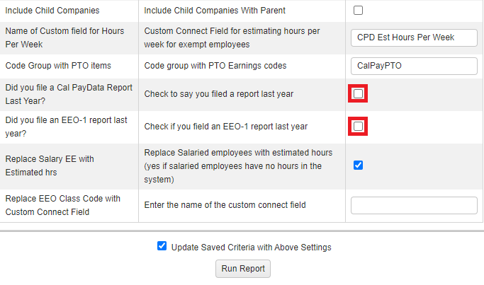 report configuration screen showing checkboxes to indicate if you filed ca pay data or eeo-1 reports in the previous year