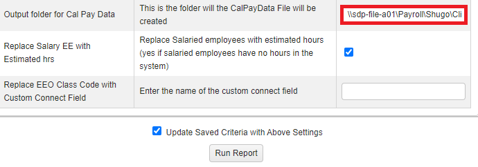 report configuration showing output folder field