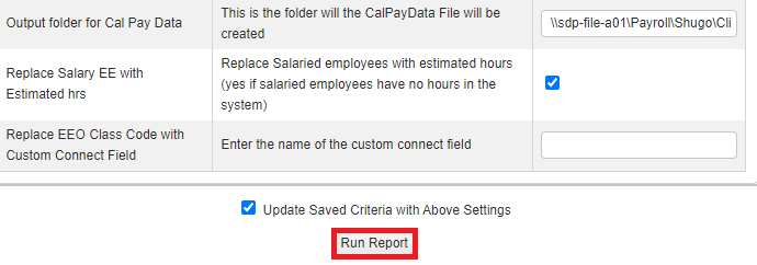 report configuration screen showing button to run report