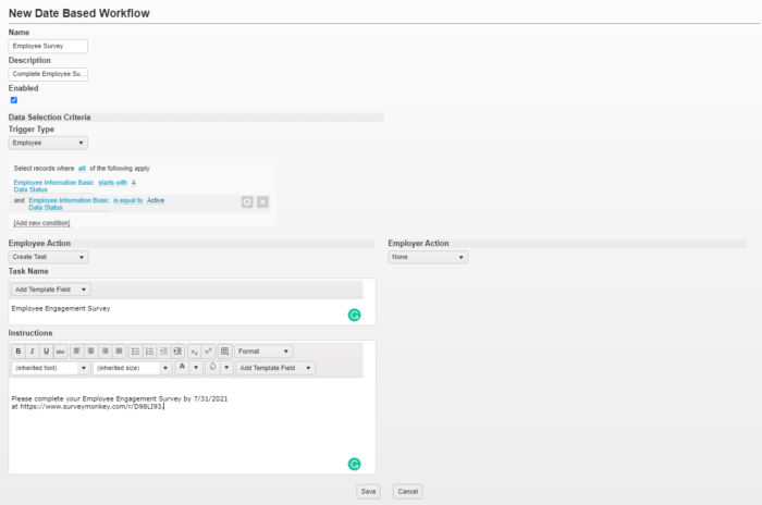date based workflow setup in sdp connect