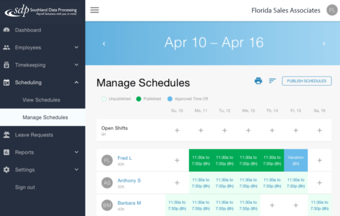 sdp scheduling software timekeeping