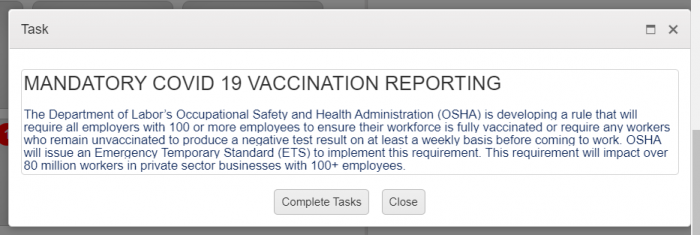 vaccination reporting popup